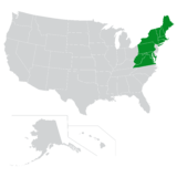 Map of the Northeast region of the U.S.
