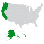 Map of the West Coast region of the U.S.