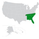 Map of the Southeast region of the U.S.