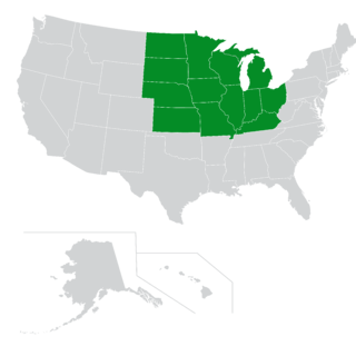 Map of Midwest region of the U.S.