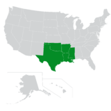 Map of the South Central region of the U.S.